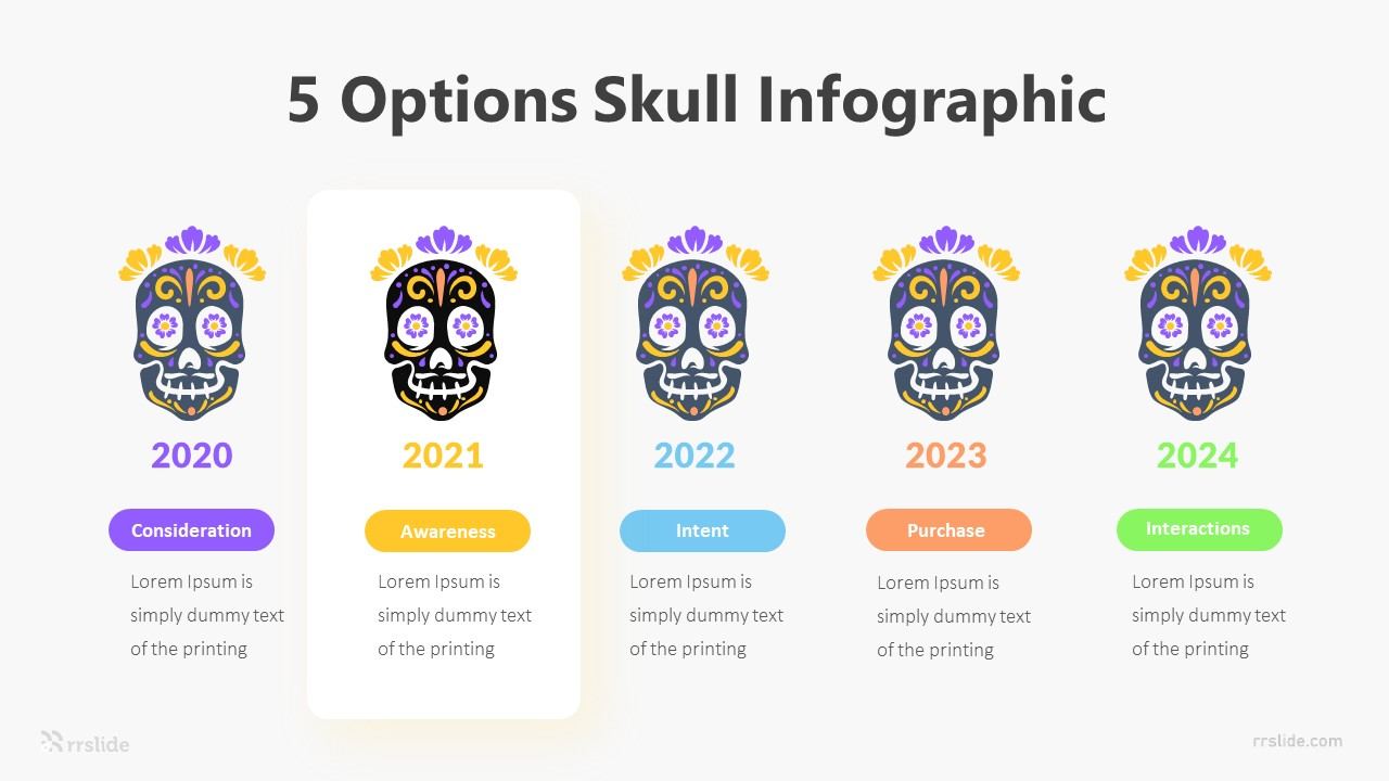 5 Options Skull Infographic Template