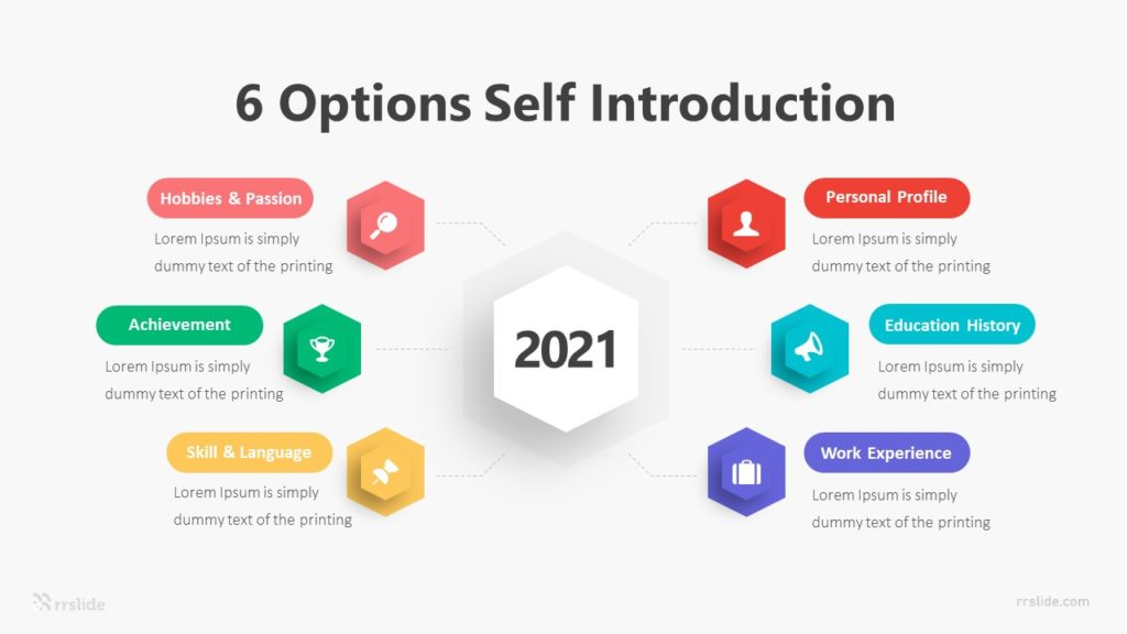 6 Options Self Introduction Infographic Template