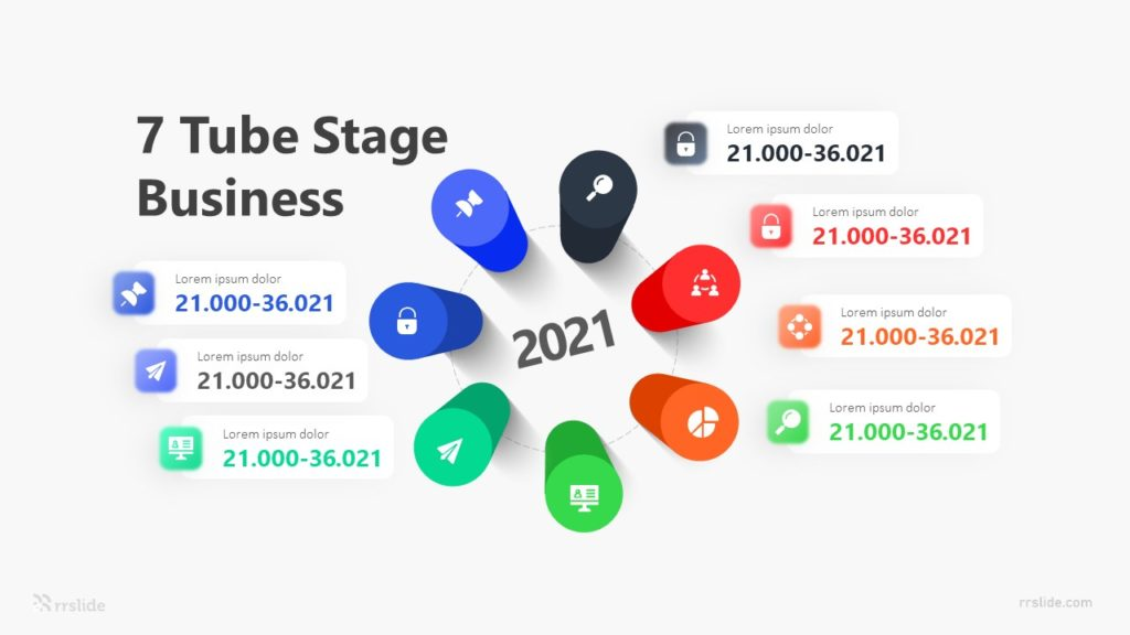 7 Tube Stage Business Infographic Template