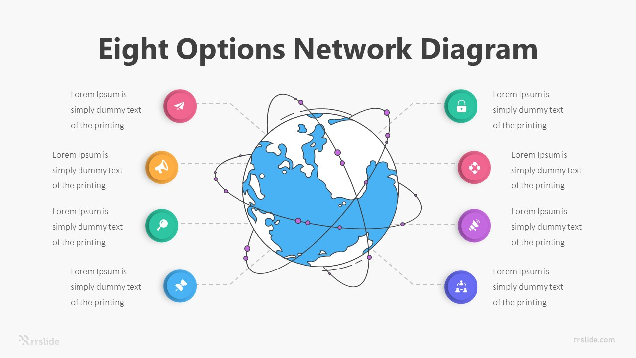 Eight Options Network Diagram Infographic Template