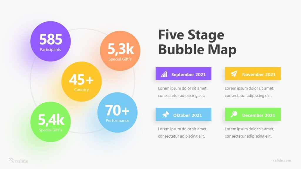 Five Stage Bubble Map Infographic Template