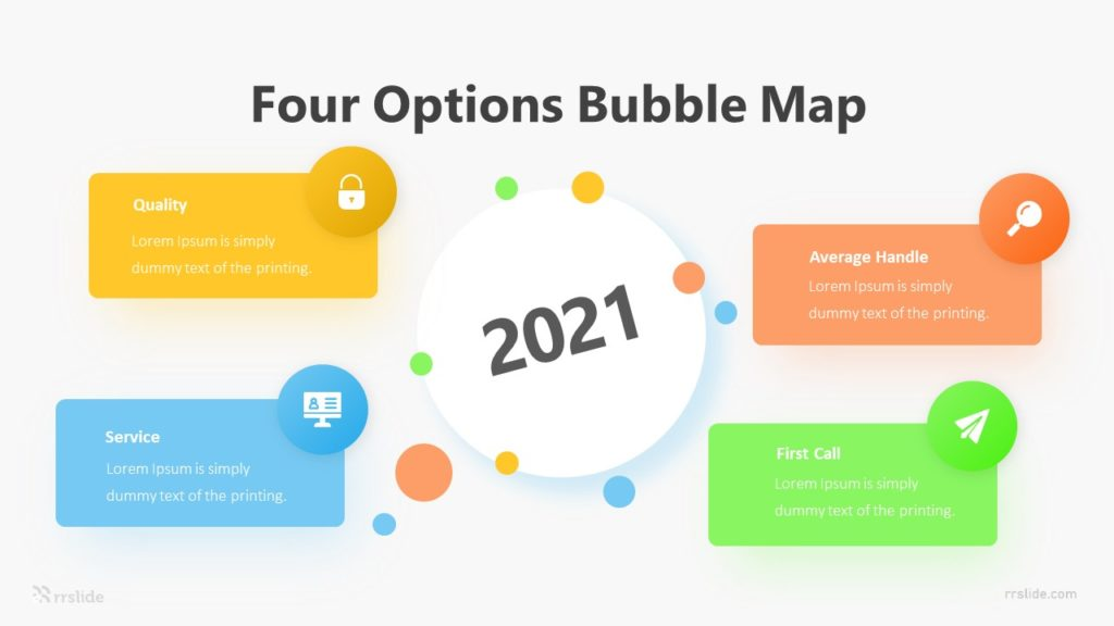 Four Options Bubble Map Infographic Template