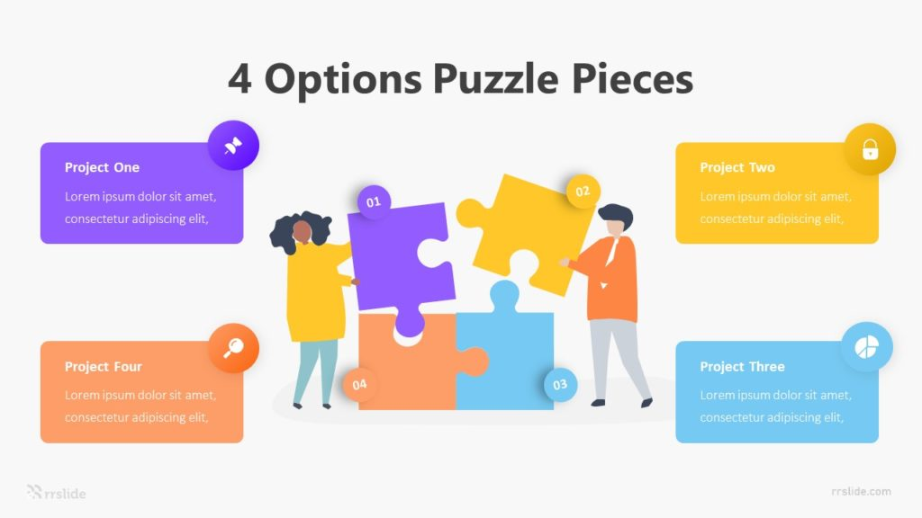 4 Options Puzzle Pieces Infographic Template