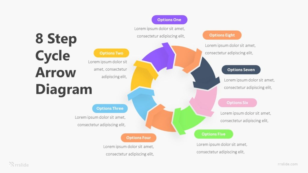 8 Step Cycle Arrow Diagram Infographic Template