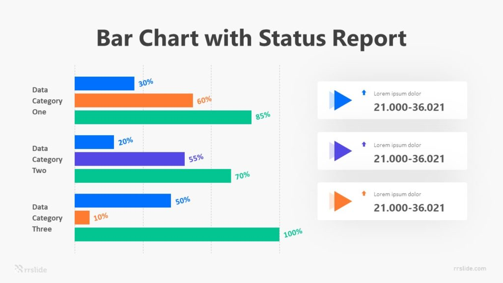 Bar Chart With Status Report Infographic Template