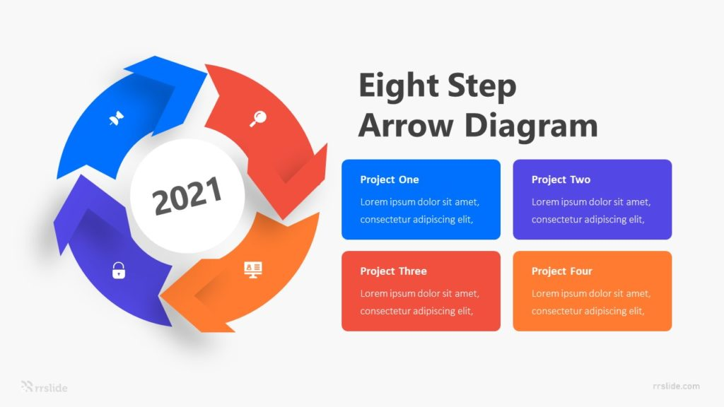 Eight Step Arrow Diagram Infographic Template
