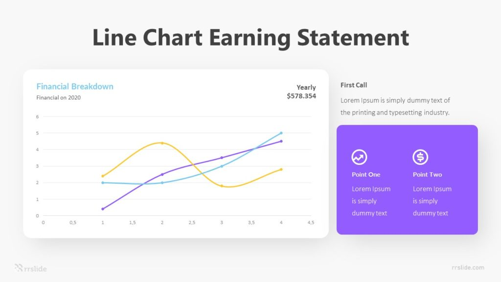 Line Chart Earning Statement Infographic Template