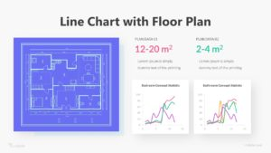Line Chart With Floor Plan Infographic Template