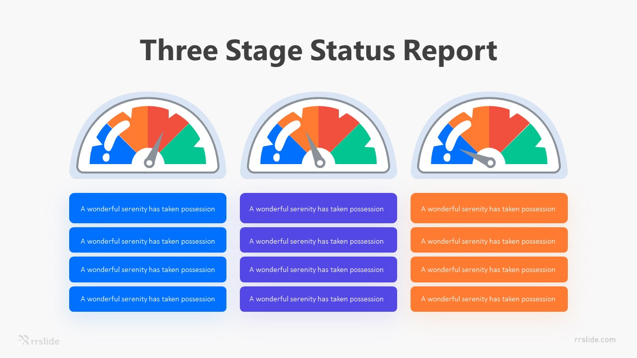 Three Stage Status Report Infographic Template