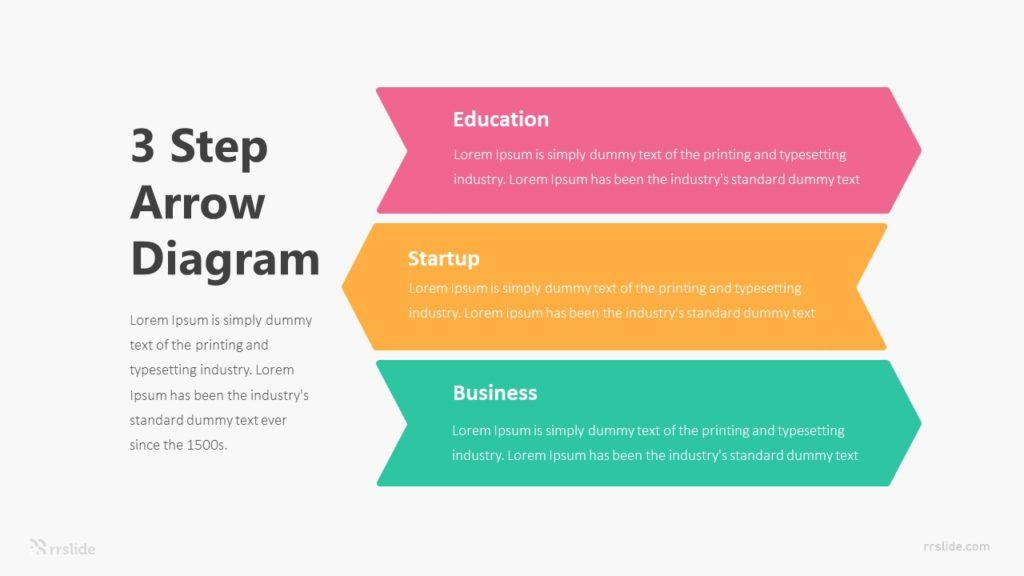Three Step Arrow Diagram Infographic Template