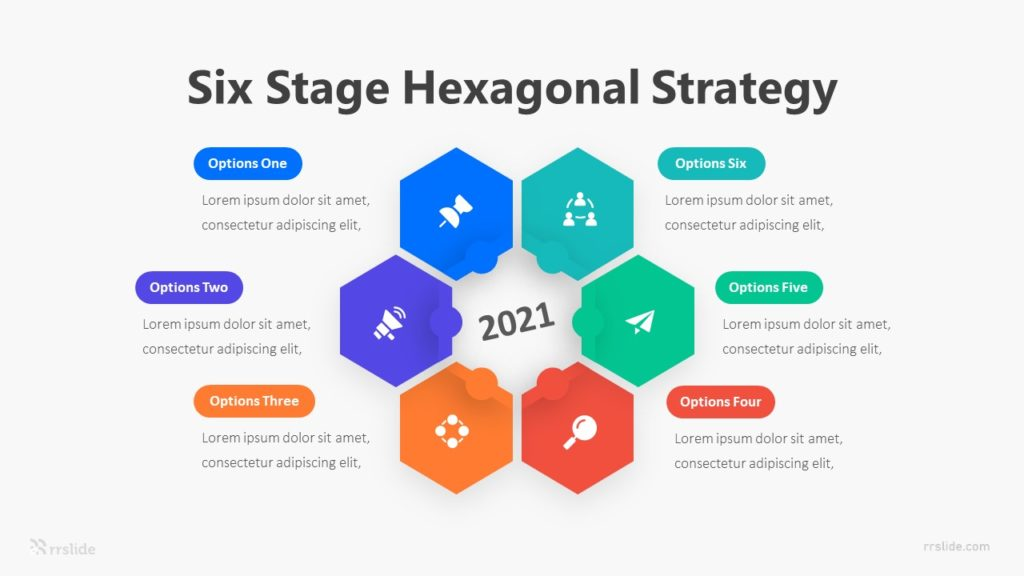 Six Stage Hexagonal Strategy Infographic Template