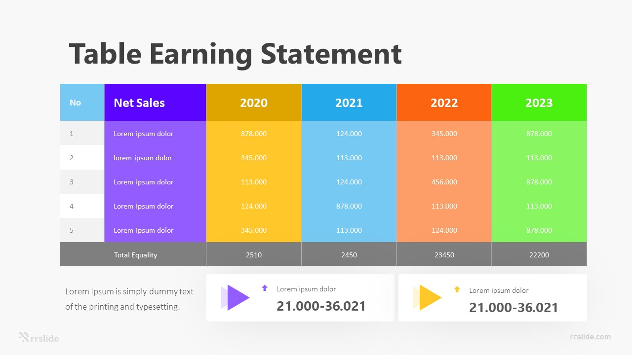 Table Earning Statement Infographic Template