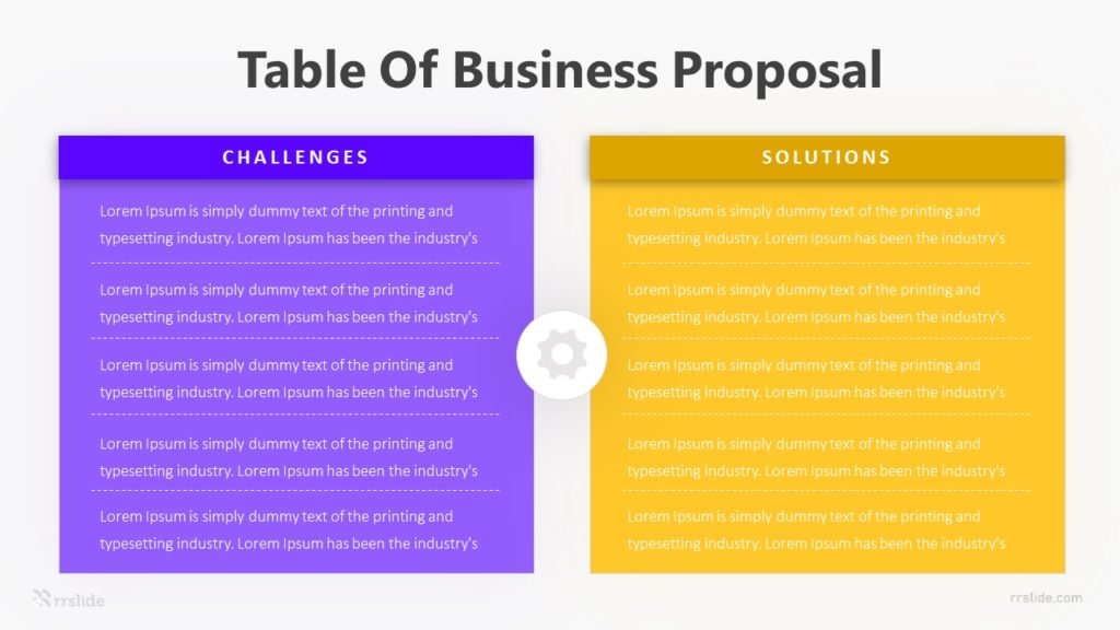 Table Of Business Proposal Infographic Template