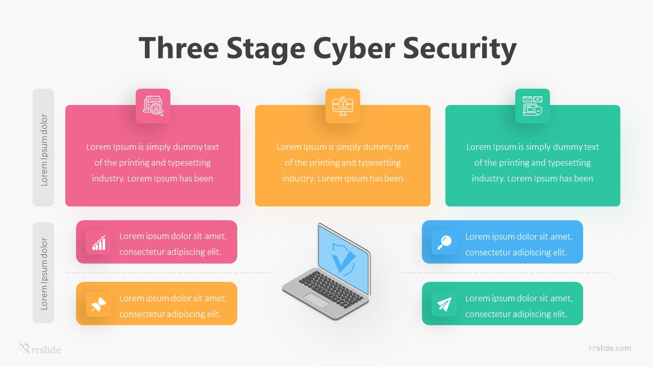 Three Stage Cyber Security Infographic Template