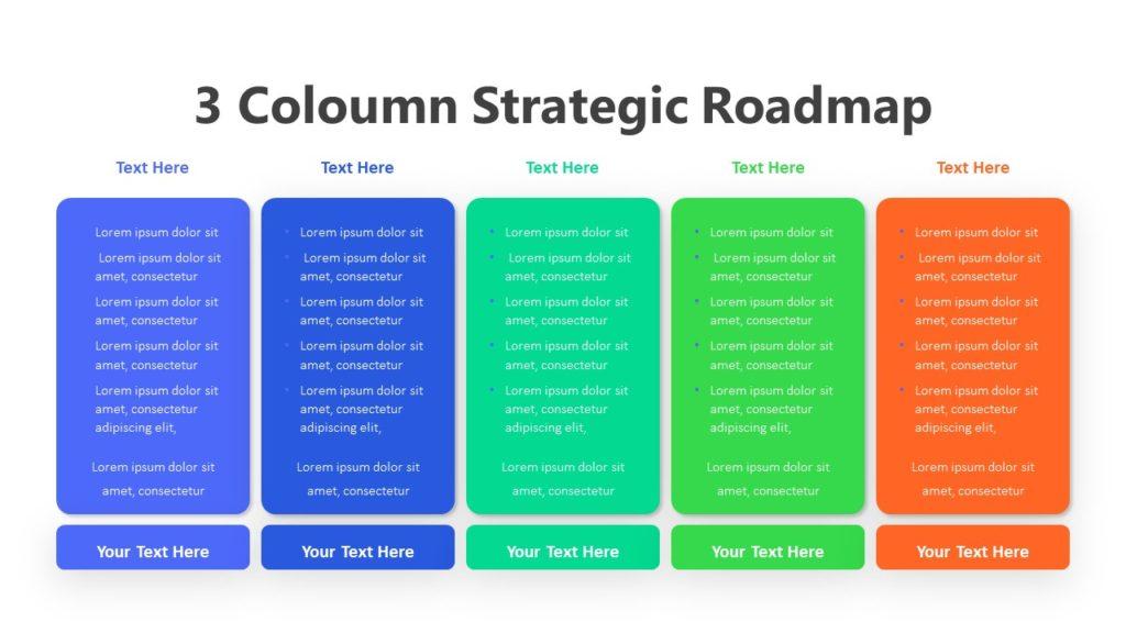 3 Coloumn Strategic Roadmap Infographic Template
