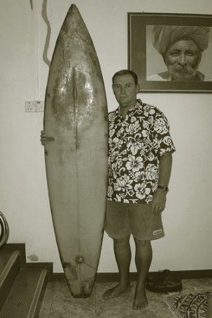 Tony with the first surfboard ever ridden in Maldives.