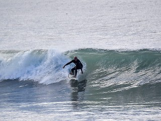 This guy had waves to himself at Arroyo Burro beach this morning