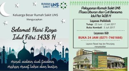 Pelayanan RS UNS Selama Liburan dan Cuti Bersama Idul Fitri 1438H