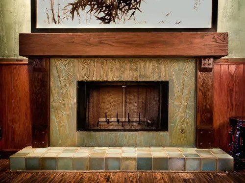 custom craftsman clay fireplace tile by