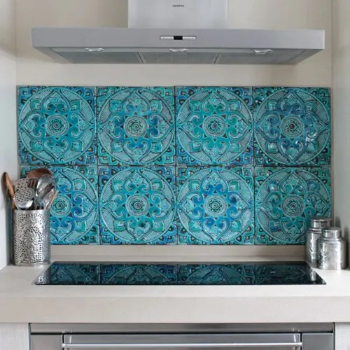 kitchen backsplash using handmade