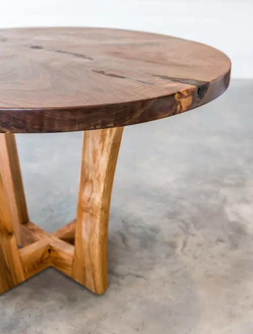 live edge black walnut round dining
