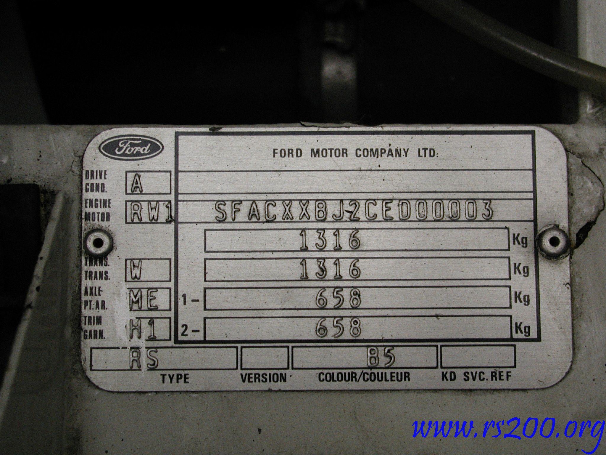 Chaise Number What Does Chassis Number Really Mean Ford Rs200 Database
