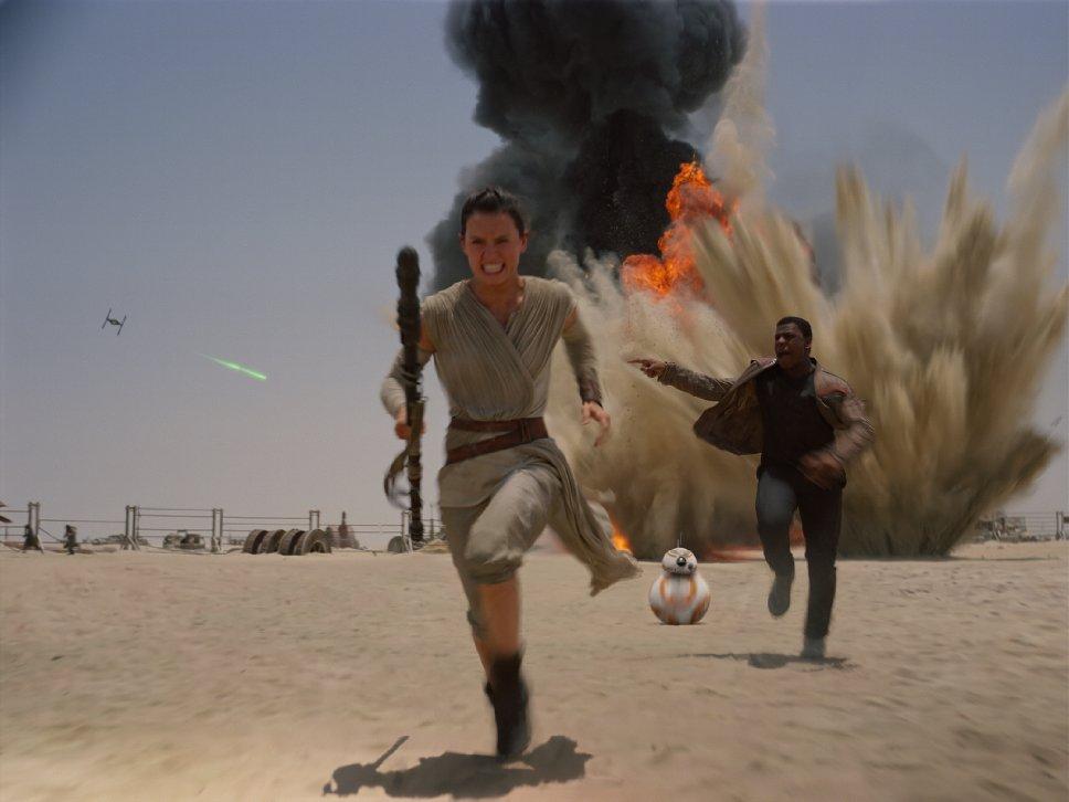 Still from The Force Awakens, featuring Rey (Daisy Ridley), Finn (John Boyega), and BB-8. via IMDB
