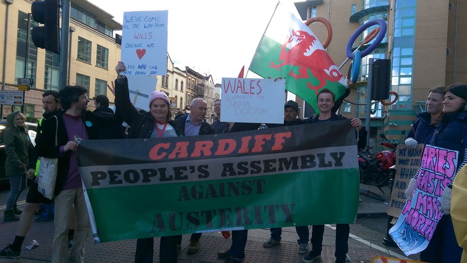 Activists from Cardiff travelled to Bristol this afternoon to show their solidarity with striking junior doctors.