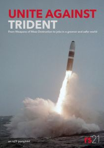 """Cover of rs21 """"Unite against Trident"""" pamphlet, shows Trident launch"""