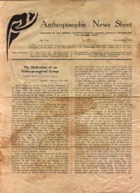 Anthroposophical News Sheet #21 1938