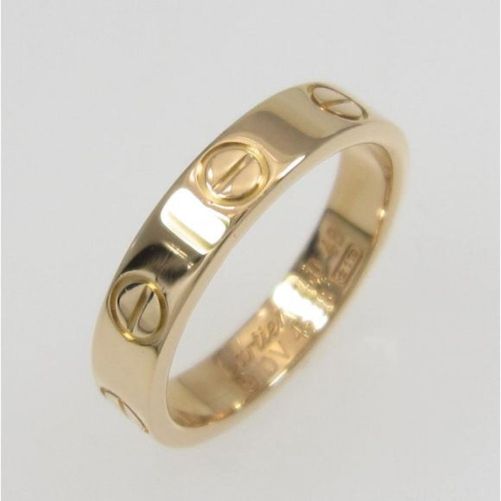 Authentic Cartier 18k Rose Gold Ring Mini Love Ring F/S