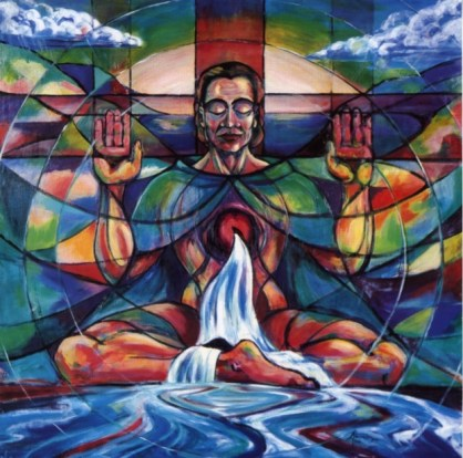 Painting of the Cosmic Christ by Sr Annett Hanrahan RSCJ from the Society of the Sacred Heart Australia New Zealand Province