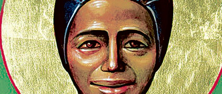 detail from icon of St Josephine Bakhita Her feast day is World Day for Prayer, Reflection & Action Against Human Trafficking