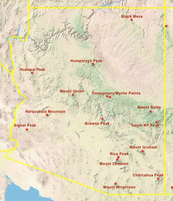 Arizona County High Points Map