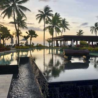 Evening light over the resort pool