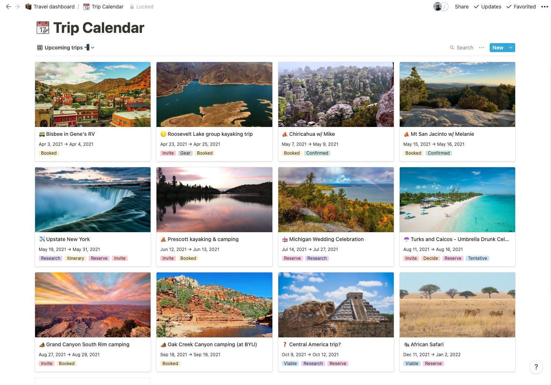 Screenshot of trip cards showing destinations