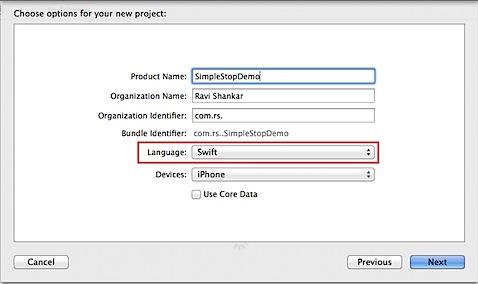 Xcode select language as Swift
