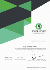 Evernote Certified Consultant Ray Sidney-Smith (Certificate 2015-2017)