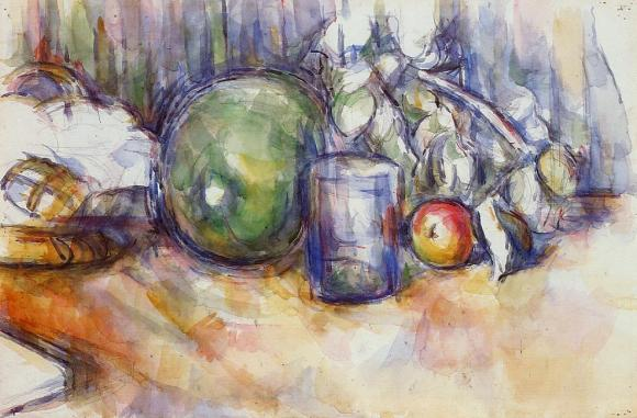 Still life with green melon 1906. Watercolour on paper. Paul Cezanne