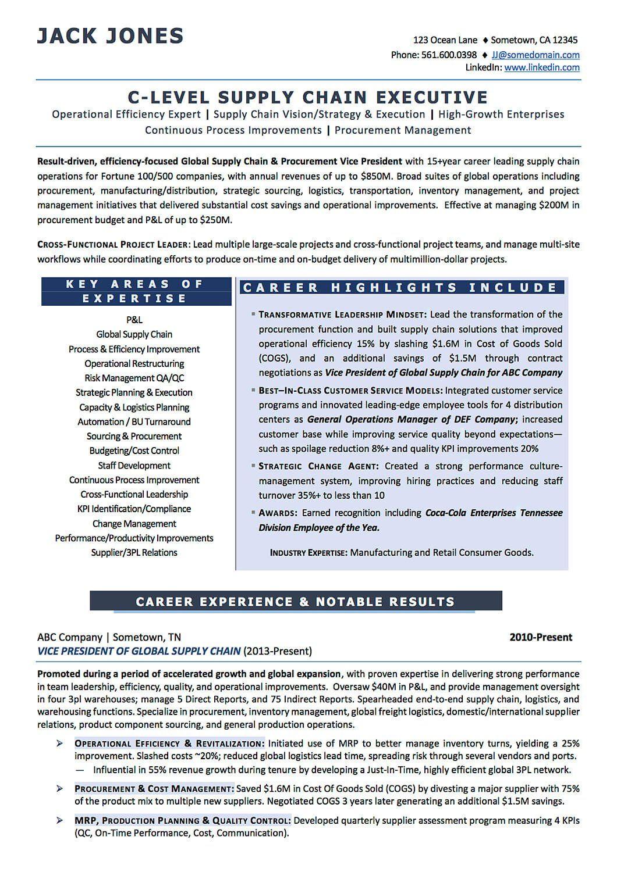 vp supply chain resume sample
