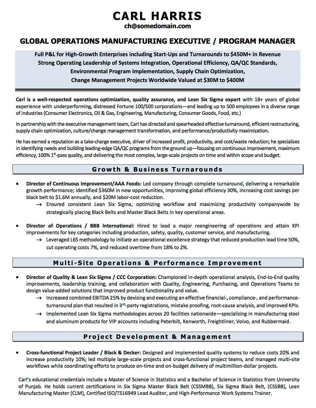Resume Examples CV Sample Resume Templates RSO Resumes  Six Sigma Resume