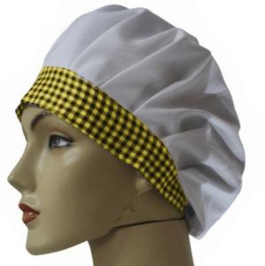 Touca tecido (com aba xadrez)