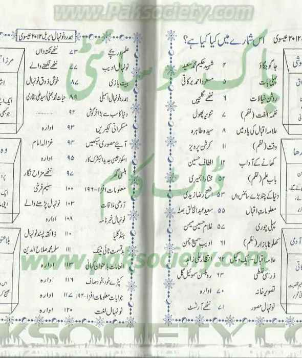 Hamdard Naunehal April 2012 Fehrist