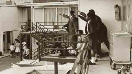 Companions of Martin Luther King Jr. point to the spot from which a sniper fired the shot that killed King at the Lorraine Motel in Memphis. (contributed)