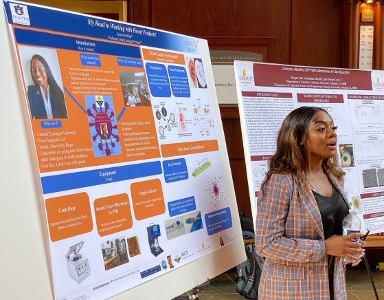 Tuskegee University chemistry major Jermya Hollins became the first Tuskegee student to join Auburn University Associate Professor Maria Soledad Peresin's lab as part of a partnership to create a STEM research mentorship program with Auburn graduate students and faculty. During a recent daylong collaborative event, Hollins shared her inspiration to begin studying forest biomaterials within Peresin's lab. (contributed)