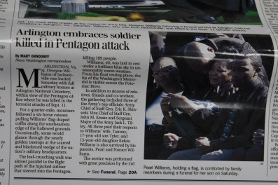Birmingham News coverage of Maj. Dwayne Williams' funeral at Arlington National Cemetery. (contributed)