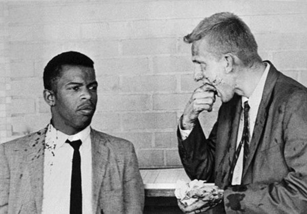 Freedom Riders John Lewis and Jim Zwerg at the Montgomery Greyhound Bus Station after a mob attacked them on May 20, 1961. (Getty Images)