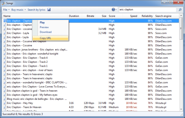 Using Songr for Windows to download full mp3 songs from 15+ search engines