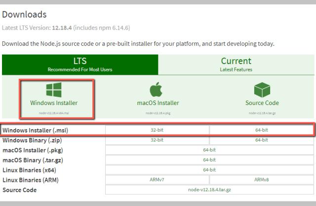 Download Node.js for Windows