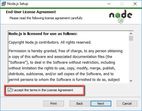 Installing nodejs windows